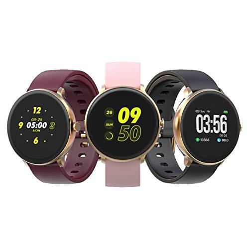 BRIBEJAT Smartwatch Pressione sanguigna/Frequenza cardiaca/Monitor del sonno IP67 Contatore di calorie impermeabile Messaggio Ricorda sport Uomo Donna Orologio con 2 cinturini gratuiti(oro)