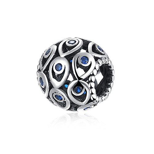 Hmilydyk, plata de ley 925, auténtica y maciza, abalorio con cristal gota de lágrima de CZ engastados, apto para pulsera de Pandora.