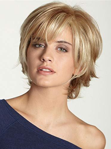 SGEARF Perruque tendance pour femme avec frange synthétique naturelle dorée