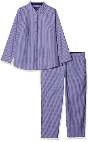 Seidensticker Damen Flanell Pyjama lang Zweiteiliger Schlafanzug, Blau (Lavendel 809), 42