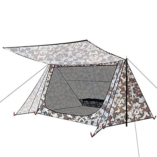 WhiteHills Tienda de campaña para 1 persona para mochileros y camping Scout Baker tienda, marco A, impermeable, ultraligero, con malla interior, color camuflaje