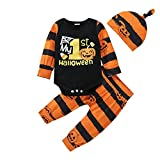 Completo Neonato 0-24 Mesi Costume per Halloween 3 Pezzi Pagliaccetto Top a Maniche Lunghe + Pantaloni Stampati di Fantasmi + Cappellino(Striscia Arancione Nera, 3-6 Mesi)