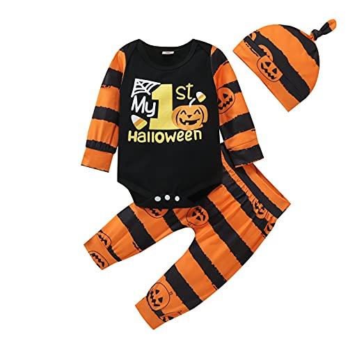 Completo Neonato 0-24 Mesi Costume per Halloween 3 Pezzi Pagliaccetto Top a Maniche Lunghe + Pantaloni Stampati di Fantasmi + Cappellino(Striscia Arancione Nera, 0-3 Mesi)