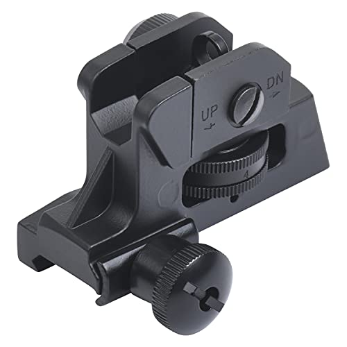 Ozark Armament A2 Rear Sight - Military Grade Picatinny Iron Sights with All Metal Construction - Two Aperture Sight for Close and Precision Targets - Designed to Mount on a Picatinny Rail