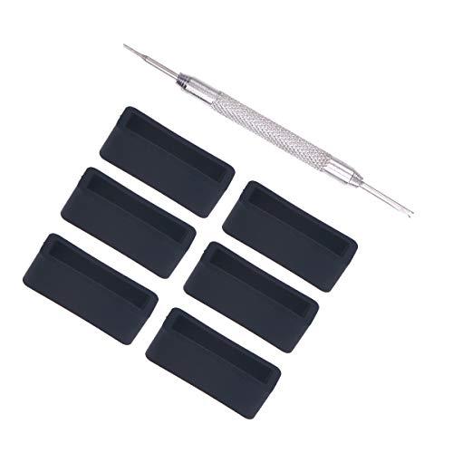 ULTECHNOVO 6 piezas 20 mm correa de reloj de cuero de goma correa de la correa de reloj de silicona lazos libres reemplazo de la banda titular titular con herramientas (negro)