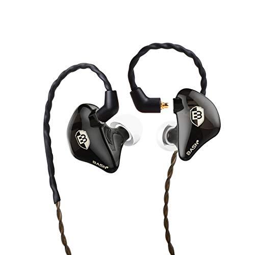 BASN Bsinger 2nd In-Ear-Kopfhörer mit geräuschisolierendem High-Definition-In-Ear-Monitor für Workout, Laufen, Fitnessstudio und Musiker Schwarz