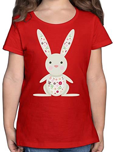 Ostern Kinder - Süßer Hase - Frühlingstiere mit Blumen - 140 (9/11 Jahre) - Rot - Kinder Shirt hase - F131K - Mädchen Kinder T-Shirt
