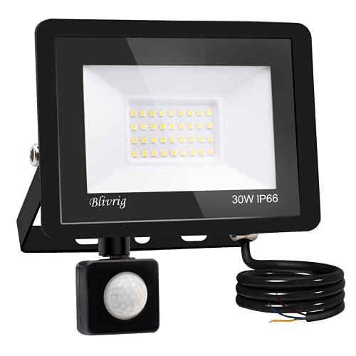 Blivrig Foco LED Exterior,30W Foco LED con Sensor de Movimiento,3000LM Super Brillante Impermeable IP66 Proyector Foco Iluminación de Seguridad Blanco Frío para Garaje (Blanco frio, 30W)