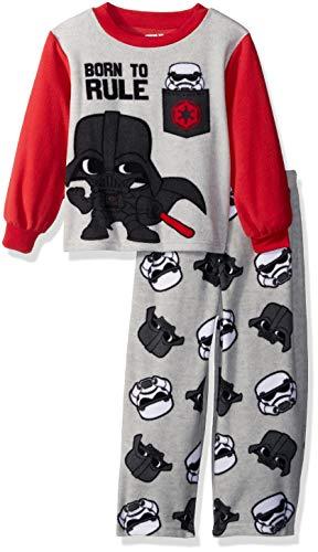 Star Wars Boys' Toddler Darth Vader 2-Piece Fleece Pajama Set, Ruler red, 2T