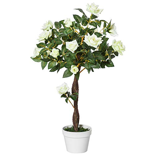 Outsunny Planta Artificial de 90 cm Rosa Blanca Realista con 21 Flores y 350 Hojas Maceta de Cemento...