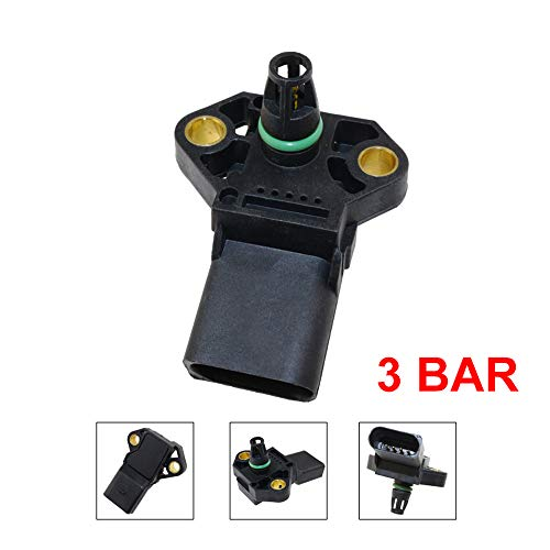 CGHDSF 100% Luftaufnahmetest Ladedruck MAP Sensor FIT für Seat Skoda 0281002401 038906051C 0 281 002 401 038 906 051 C,Schwarz