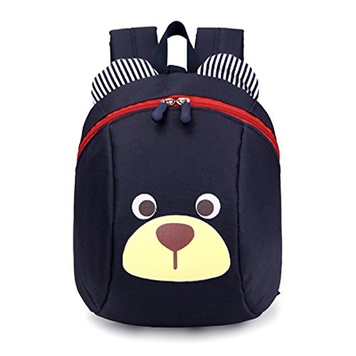 VANKER - Mochila con diseño de oso con correa para niños, azul oscuro, large