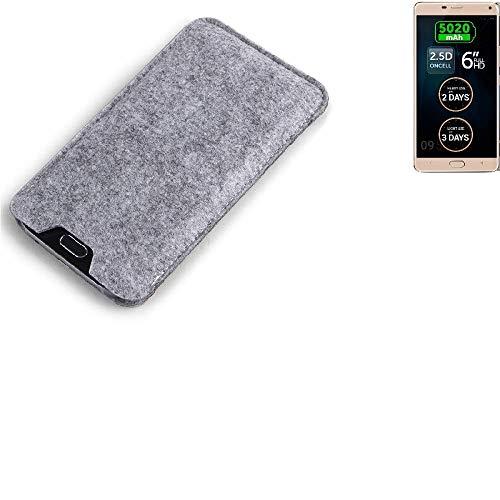 K-S-Trade® Filz Schutz Hülle Für Allview P8 Energy Pro Schutzhülle Filztasche Filz Tasche Case Sleeve Handyhülle Filzhülle Grau