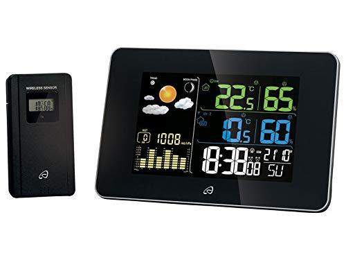Estación meteorológica por radio con sensor de temperatura, humedad del aire interior y exterior