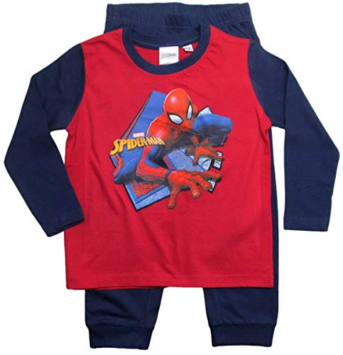 Spiderman Marvel Schlafanzug Jungen Lang (Rot, 92-98)