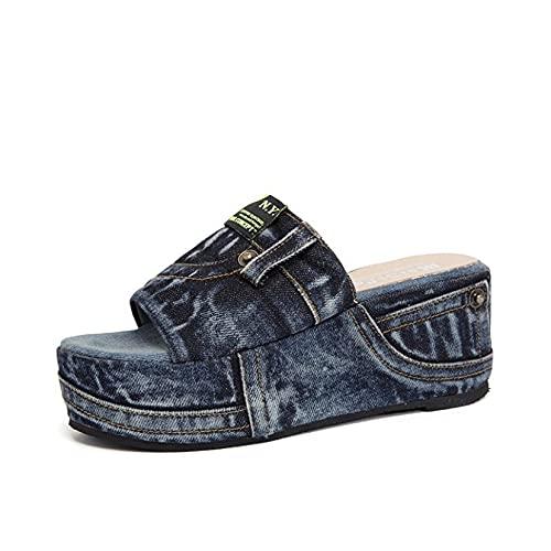 Sandalias de plataforma de moda para mujer con puntera abierta, plataforma antideslizante impermeable para verano, Blue, 36.5 EU