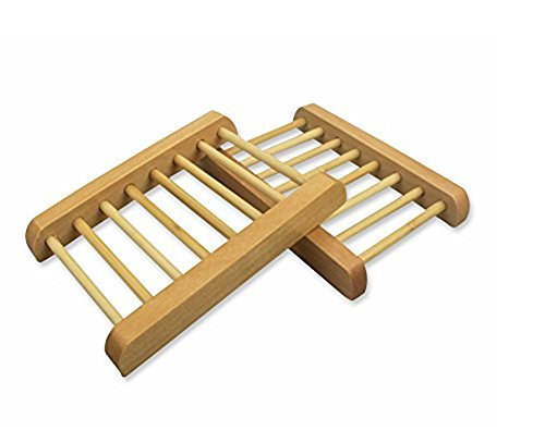 esowemsn Pack of 2 Wooden Soap Box, Natural Wooden Soap Dish Holder Racks Tray Ladder Themed Design Bathroom Accessories