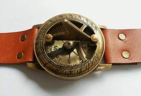 Teampunk Reloj de pulsera de latón con brújula y reloj de sol con correa de piel