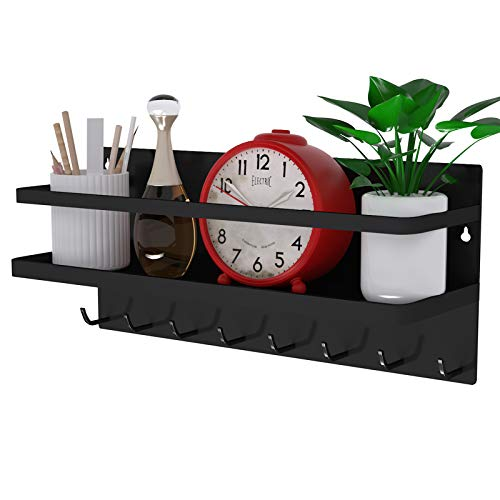 Magnetic Shelf with 8 Hooks Wall Mounted Rack ,Storage Hanging Magnetic Floating Shelf for Home or Office, Coat Hooks for Wall ,Magnetic Tools Holder ,Made of Metal (Black)