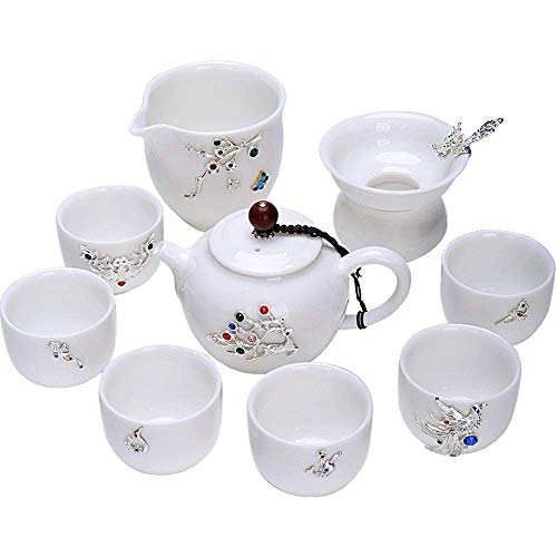 Xingyu Teeset Jade Kung Fu, klassische Teekanne Teetasse, Teebereiter, Silbereinlage, Tee-Set mit Geschenkbox für 6 Personen, für Haushalt (Farbe: weiß, Größe: 9 Stück), weiß, 9PCS