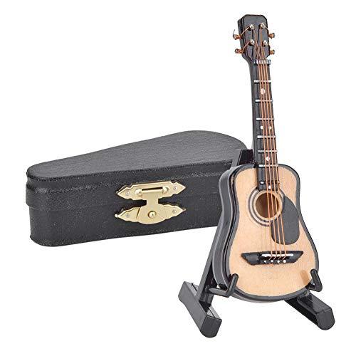 Miniatur Akustikgitarre, 3,1 Zoll Mini Gitarren Modell mit hölzernem Musik instrumenten Modell Hobby Collectibles Geschenk für Wohnaccessoires(8CM)