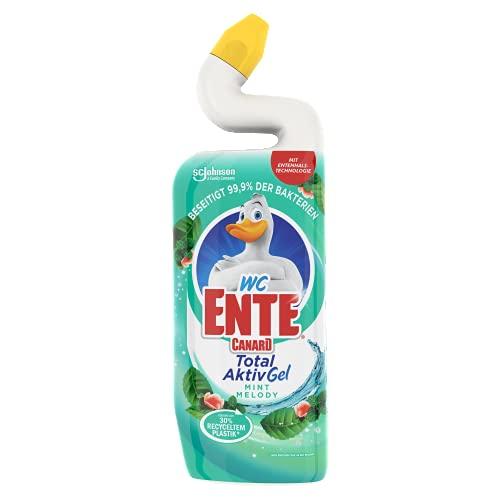 WC-Ente Total Aktiv Gel, Flüssiger WC-Reiniger, mit Entenhals-Technologie, antibakteriell, Toilettenreiniger, Mint Melody, 1er Pack, 750 ml