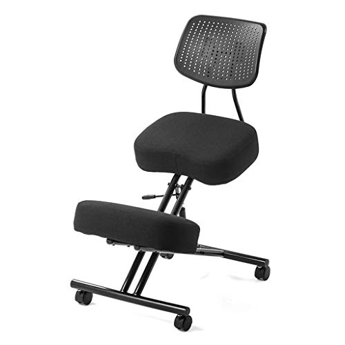 DLT Ergonomic Kneeling Chair with Back Support, Adjustable Balance Chair with 4 Wheels, Steel Frame, Thick Breathable Fabric, Ergonomic Chair Kneeling Rocking, Black