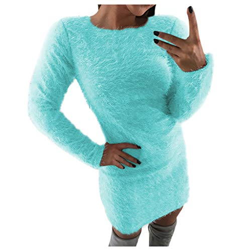 MKLEUTPS Damen Kleider Elegant Spitzenkleid Omen Winter Langarm Solid Sweater Fleece Warm Basic Kurzes Minikleid