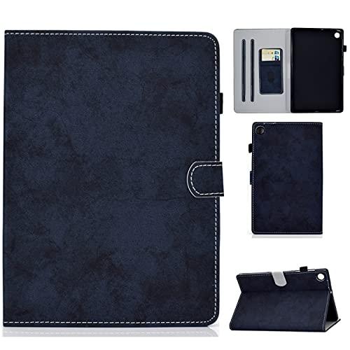 GBHGBH DE for Lenovo Tab M10 Plus-TBX606F Marmor-Tuch-Textur Tablet PC Schutztasche Ledertasche mit Halterung (Farbe : Dark Blue)