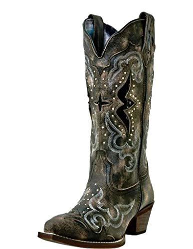 "Laredo Womens Lucretia Studded Snip Toe Western Cowboy Dress Boots Mid Calf Mid Heel 2-3"" - Black - Size 9 D"