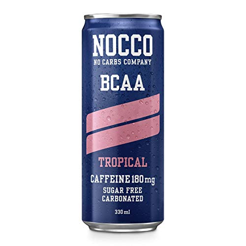 NOCCO BCAA Tropical (12 Pack) | Zero Sugar Functional Energy Drink | No Carbs Company | Vitamin Enhanced with 180mg Caffeine | Flavoured Functional Drinks for Health, Fitness & Everyday