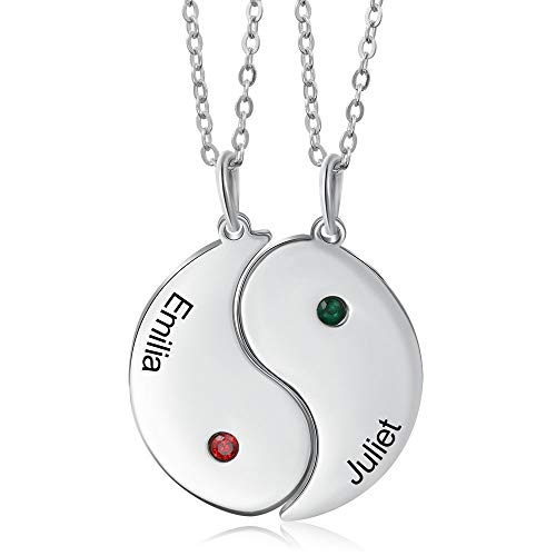 Personalized Yin Yang Necklace with 2 Simulated Birthstones Engraving 2 Names Stainless Steel Couple Friendship Necklace for Women Men