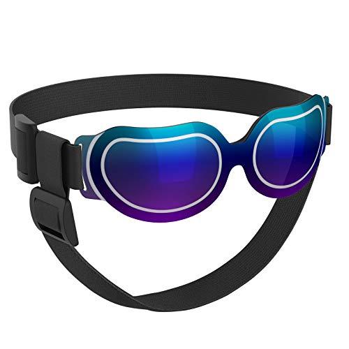 VavoPaw Gafas de Sol para Perros Pequeños, Anteojos Protectores Impermeables contra UV Viento Polvo con Lentes Claros Bandas Elásticas Ajustables para Coches Viajes Fiestas Cachorros Perritos, Azul