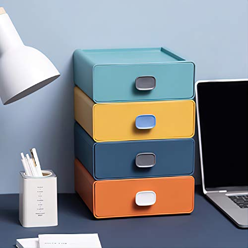 4Pcs Beautiful Stackable Plastic Storage Drawers - Plastic Drawer Organizer - Desktop Storage Box with Drawers - Storage Box Makeup Drawers - Compact Customizable for Office Home Square Handle