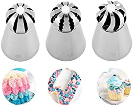 Cake Icing Nozzles New Ball Russian Piping Tips Lace Mold Pastry Cream Buttercream Cake Decorating Tool Stainless Steel Kitchen Baking Pastry Tool (3 pcs Ball Russian tips)