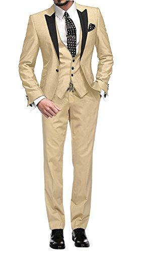 GEORGE BRIDE Herren Anzug 5-Teilig Anzug Sakko,Weste,Anzug Hose,Krawatte,Tasche Platz 002,Champagner M