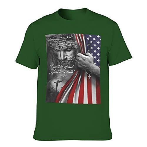 Cómoda camiseta para hombre con gráficos JES 'Don't Be Afraid Faith American Flag', moderna, activa Dark Green001. XXXXXL