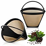 Reusable Coffee Filters, 2 Pack 6-12 Cup Cone Coffee Filters #4 Basket Permanent Replacement Coffee Filters with Stainless Steel Mesh Fit for Cuisinart Coffee Maker Filter and Brewers