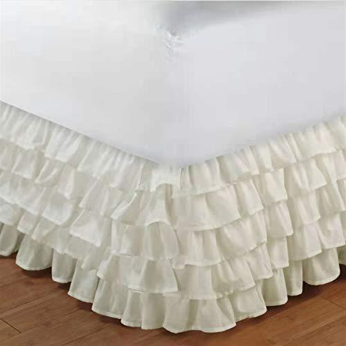 WWQQ Volantes Faldas de la Cama 120x200cm /150x200cm /180cmx200cm Encaje Estilo Princesa Colchas Lace Recortado Bedding Ruffled Bedskirt (Color : L, Size : 150x200+38cm)