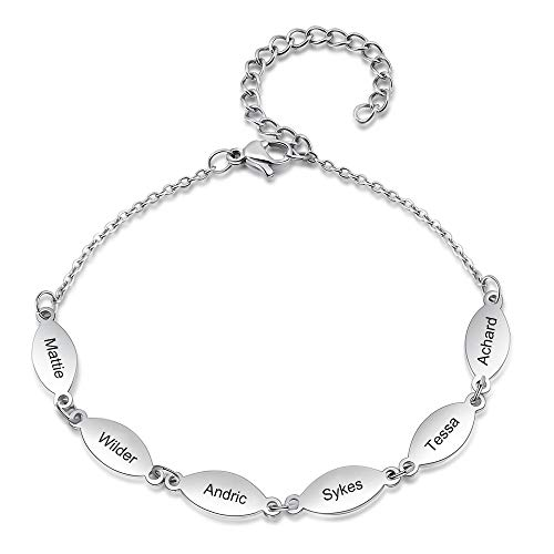 jewelora Personalized 6 Names Women Bracelet Family/Best Friends Bracelet Gift for Mother Friends Sisters on Mother's Day Anniversary Birthday