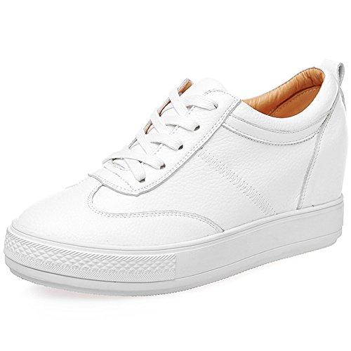 Jamron Mujer Suave Cuero de Imitación Talón de Cuña Oculta Zapatillas Confortable con Cordones Casual Zapatos de Deporte Blanco SN2520 EU38