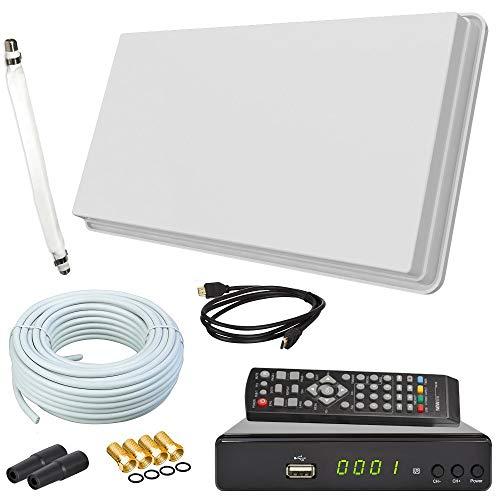 netshop 25 Set: Selfsat H30D1+ Flachantenne Single + HD Receiver + 10m Kabel + Fensterhalterung + 1 Fensterdurchführung + 4 F-Stecker + 2 Wetterschutztüllen (Full HD 4K Sat Anlage für 1 Teilnehmer)