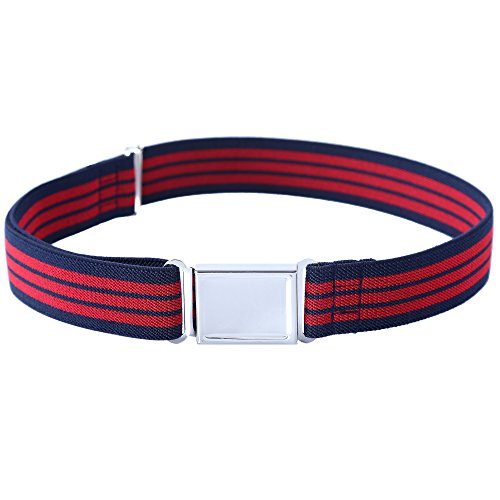 Kajeer Gürtel für Jungen Mädchen Verstellbar - Großer Elastischer Stretchgürtel mit einfacher Magnetschnalle für 2-15 jährige Jungen und Mädchen (Marineblaue & Rote Streifen)