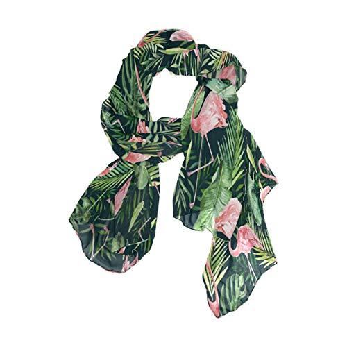 MNSRUU Schal mit grünen Palmen, Flamingo-Vogel-Chiffon-Seide, lang