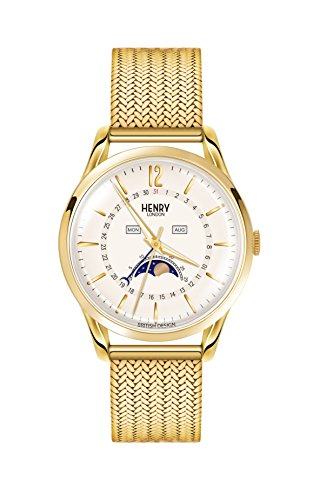 Henry London Unisex Mondphase Quarz Uhr mit Edelstahl Armband HL39-LM-0160