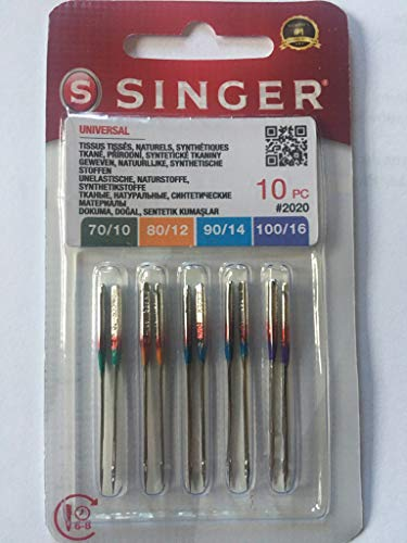 Singer - Lot 10 Aiguilles Machine à Coudre Universelles - 2020 Taille 70/09 80/11 90/12 100/14 - Tissu Coton - Aiguilles Machines à Coudre Familiales