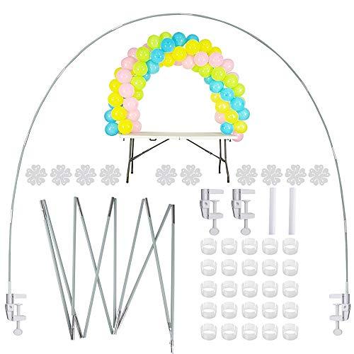 JNCH Kit Arco Globos Soporte de Mesa Table Balloons Arch Frame Arco de Globos Estructura para Decoración Cumpleaños Fiesta Baby Shower Bautizo Boda Accesorios Todo Incluído (Reutilizable, Kit Fibra)