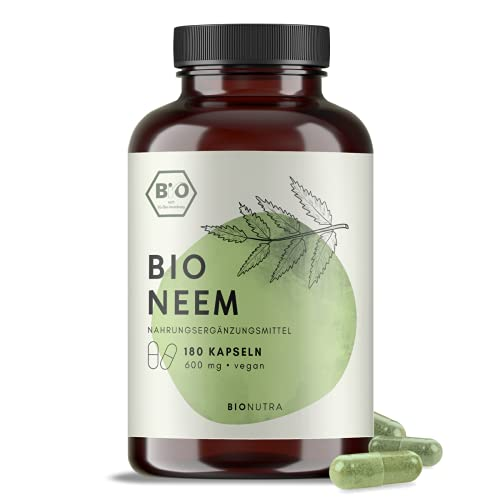 BIONUTRA® Neem Kapseln Bio (180 x 600 mg), hochdosiert, deutsche Herstellung, 2-Monatspackung, vegan, ohne Zusätze, auch als Niem Kapseln oder Nim Kapseln bekannt