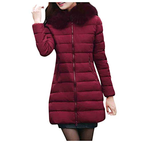 Giacca da Piumino da Donna - Oversize Donna Oversize Inverno Caldo Thick Outerwear Donna Casual Manica Lunga Coat Slim Cotton Giacche(Vino,7XL)