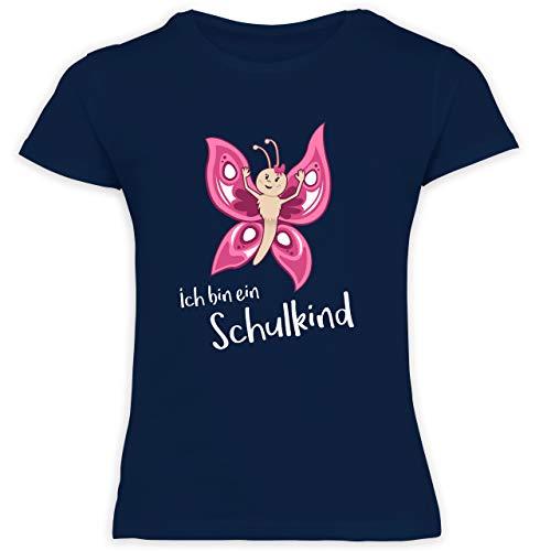 Einschulung und Schulanfang - Ich Bin EIN Schulkind Schmetterling - 128 (7/8 Jahre) - Navy Blau - F131K_Shirt_Mädchen - F131K Schulanfang - Schulanfang Mädchen T-Shirt Kinder
